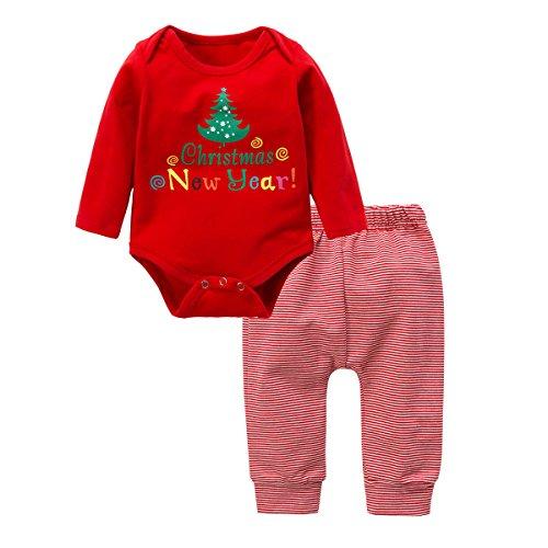 n Grils Kleider Set, Baywell Weihnachten Outwear Langarm Spielanzug & Gestreifte Hosen (XS/60/3-6 Monate, Rot) (Kleid Für Grils)