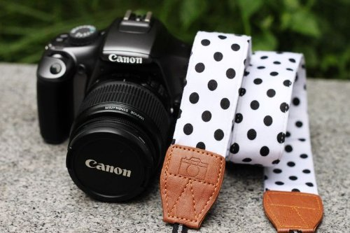 Nine States Top Quality Soft Cotton Polka Dots Print Universal Adjustable Camera Camcorder Shoulder Neck Strap Belt with Harness Adapter Fits for DSLR Camera Nikon Canon Panasonic Sony Samsung Olymplus Fujifilm (White)(AR-005 Series)  available at amazon for Rs.1149