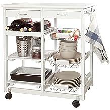 SoBuy Carrello di servizio, Carrello cucina,Scaffale da cucina,in legno, bianco,