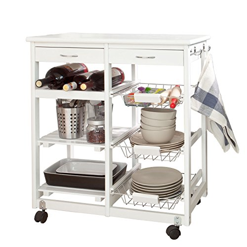 SoBuy Carrello di servizio, Carrello cucina,Scaffale da cucina,in legno, bianco, FKW04-W, IT