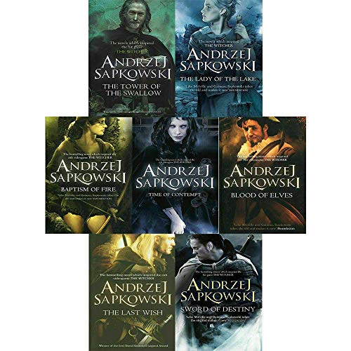 Andrzej Sapkowski Witcher Series 8 Books Collection Set (The Last Wish,Sword of Destiny,Blood of Elves,Time of Contempt,Baptism of Fire,Tower of the Swallow,Lady of the Lake,Hardback-Season of Storms)
