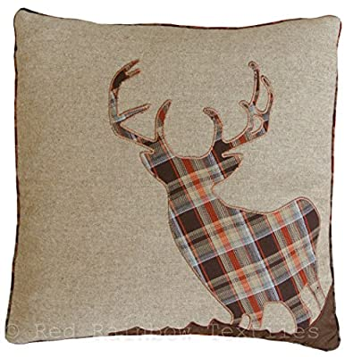 Tartan Stag 18 Inch Brown, Orange & Latte Cushion Cover Soft Woven Tweed Fabric