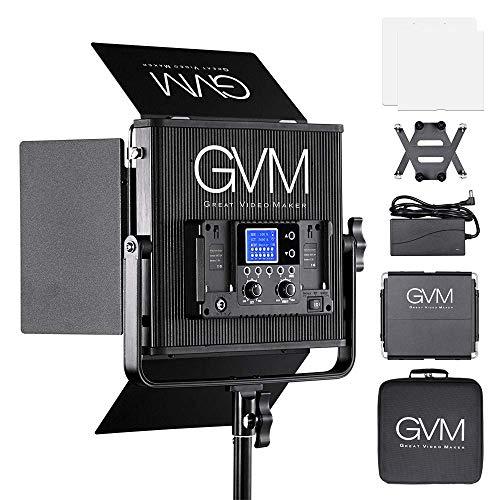 110v Dc-batterie-adapter (GVM LED Videoleuchte, CRI97 + 22000lux Einstellbare 3200K-5600K 672 LED Videoleuchten mit Scheunentor für Studio YouTube Fotografie und Kamera Foto Video Dauerlicht)