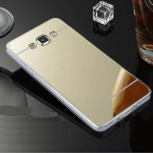 Coque Miroir Silicone TPU Galaxy S6,Mirror Coquille pour Samsung S6,Leeook Noble Elegant Cool Or Semi Rigide Coque Effet Miroir Etui TPU Téléphone Coque Coquille de protection Flex Soft Gel en Caoutchouc Bumper Shockproof Anti Scratch Housse Pailletee Rigid Back Cover pour Samsung Galaxy S6 + 1 x Noir Stylet-Gold