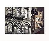 deinebilder24 Kunstdruck - 60 x 80 cm - Feuerleiter Eines Gebäudes in New York