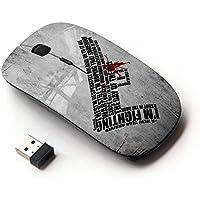 [Peculiar-Star] Colorato stampato ultrasottile ottico senza fili 2.4Ghz mouse-Black [Io? M combattimento messaggio profondo]