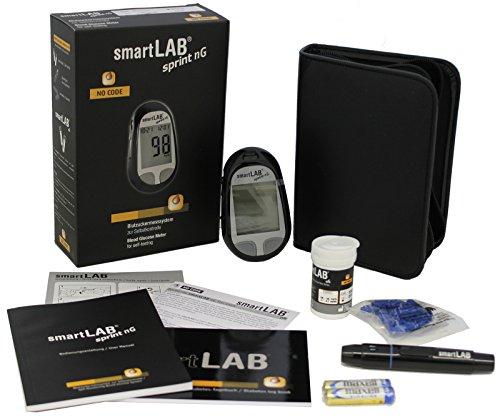 smartLAB sprint nG Blutzuckermessgerät mmol/L Starterset | Blutzuckermessgerät für den Diabetes Alltag | NUR mit smartLAB nG Teststreifen | Präzise Blutzuckermessung mit großem Display