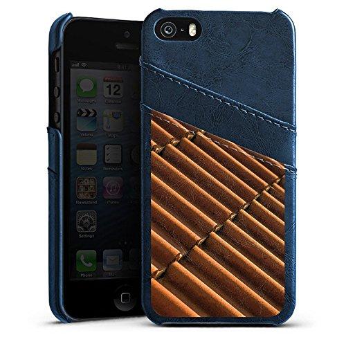 Apple iPhone 5s Housse Étui Protection Coque Tuiles Look tuiles Motif Étui en cuir bleu marine