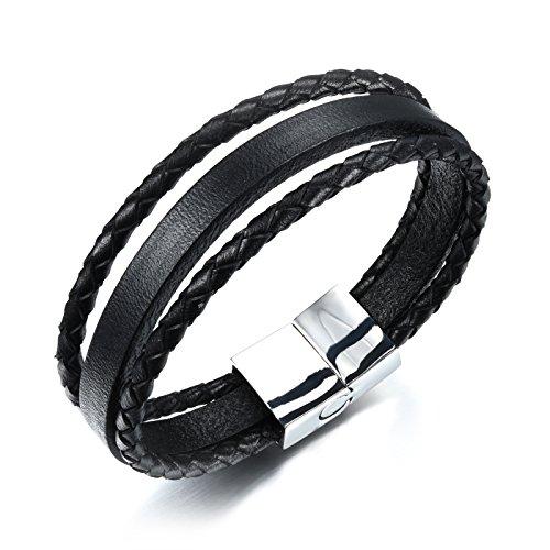 OPK Jewellery Herren Mütze Simple 21cm Pure schwarz Leathe 3-fach Weave Armband mit Edelstahl Magnetverschluss