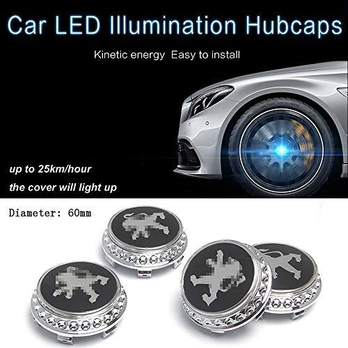L&U 4 Stück LED-Licht Magnetschwebebahn Wasserdichte Mittelradnabenkappen-Abdeckungen passend für Peugeot 206/207/301/307/308/408/408/508/2008/3008/4008