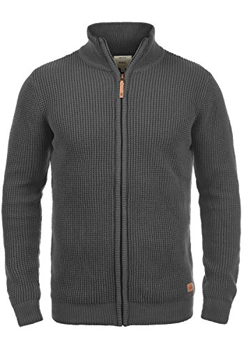 Redefined Rebel Mongo Herren Strickjacke Cardigan Grobstrick Winter Pullover mit Stehkragen, Größe:M, Farbe:Forged Iron