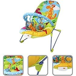 Hamaca vibrante para bebé con función musical - Hamaca con motivos de dinosaurios con arco y juguetes