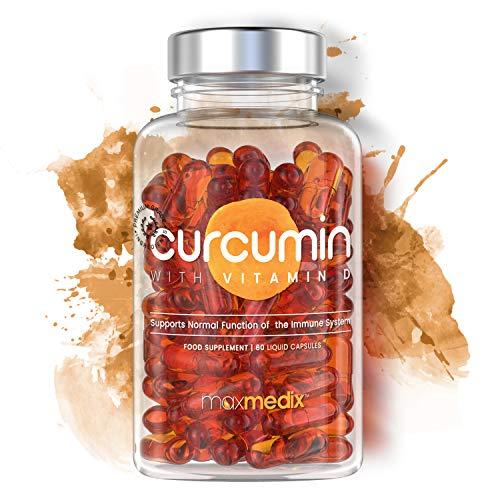 Curcumin With Vitamin D - Natural Curcuma Supplement - Anti-inflammatory, Anti-oxidant and Autoimmune Properties - Favors Weight Loss - 60 Liquid Capsules 500mg