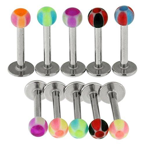 10 Stück Pack UV Radio aktiv Bälle mit 16 Gauge (1,2 mm) - 6MM Länge 316L chirurgischer Stahl Lippe Labret Tragus Piercing