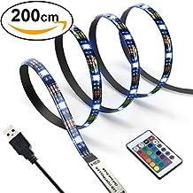 E2BUY 2M 60 LEDs Retroiluminación de TV 5050 RGB Bias Iluminación para HDTV de 40-60 pulgadas, USB LED Rayas Multi Color LED Neon Accent Lighting Kit