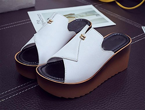 Frau Sommer hochhackigen Sandalen und Pantoffeln Wort ziehen Keil Sandalen dicke Kruste White