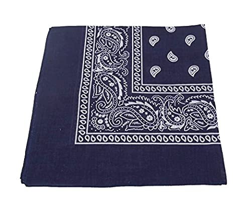 TOOKY color scarf is square PAISLEY BANDANA 100% COTTON (Navy blue)
