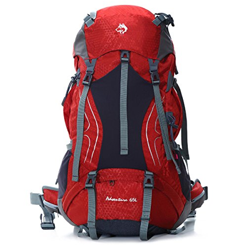All'aperto Alpinismo Borse Grandi Capacità Da Viaggio Borse 65L,Blue-OneSize Red