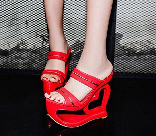 GLTER Femmes Sandales Talons Ouverts Chaussure Talons Rouges Talons Hauts Pantoufles ImperméAbles L'Eau Chaussons Talon Rouge Noir Red