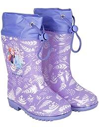 Botas de Agua Niña Disney Frozen - Botines Impermeables Infantiles Lila - Estampado Elsa y Detalles Blancos - Suela Antideslizante y Cierre con Cordón - Perletti