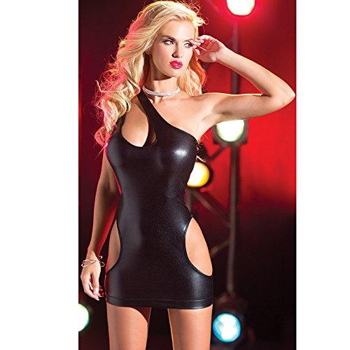 Culater® En Cuir Brevet Sexy Lingerie Mini élastique Robe sans Bretelles Clubwear Noir