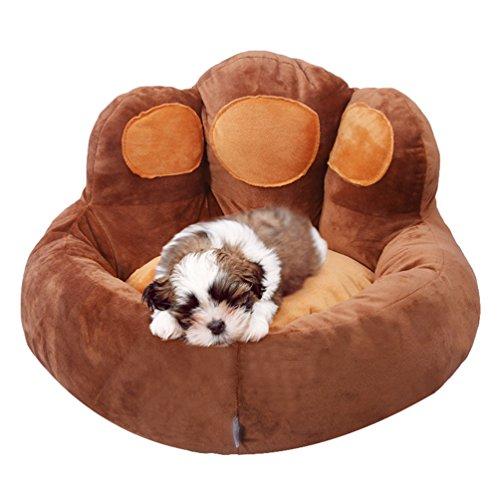 Yuncai carino zampa dell'orso nido cane morbido caldo letto cuscino accogliente divano per gatto animali domestici marrone scuro l