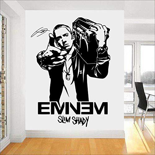 guijiumai Mode Design Wandbild Eminem Rapper Vinyl Wandkunst Aufkleber Für Jungen Schlafzimmer Wohnkultur Teens Room Decor Manga Wandbild weiß 60 x 42 cm
