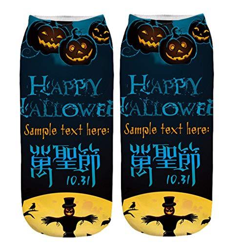 Skxinn Unisex Winter Sportsocken,Halloween Pumpkin Bedruckte Kurze Socken/Lässige Niedliche Söckchen für Frauen,Weihnachtsdruck 3D Socken(Z01-R)