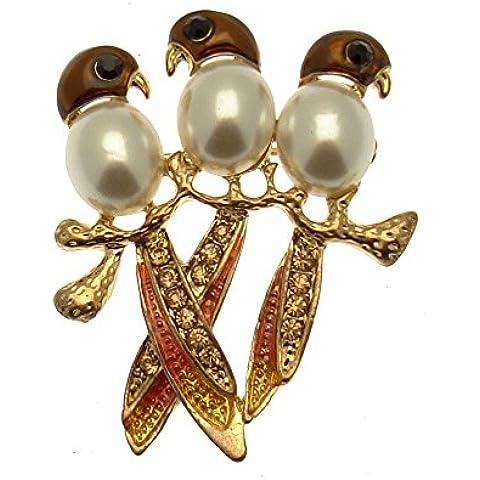 Acosta, smaltato, con cristalli, 3 & Pearl-Spilla a forma di uccello, con finiture in oro, in confezione regalo