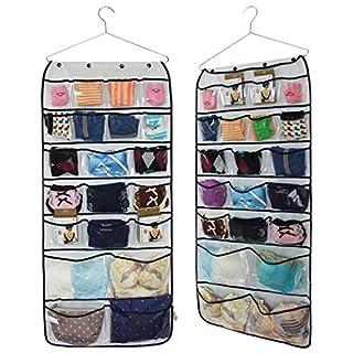 H?ngender Kleiderschrank Beidseitiger Organizer, 42 Taschen, 87 x 43 cm
