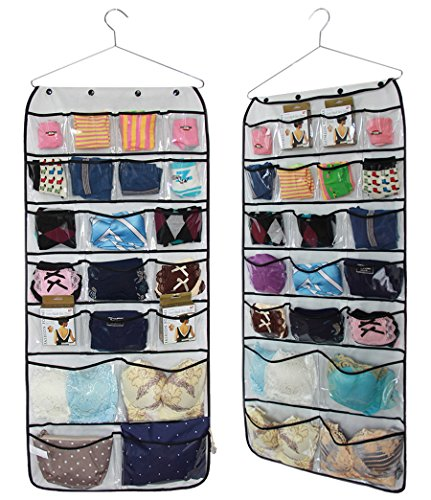MISSLO 42 Pockets Hanging Closet wardrobe Storage Bra Underwear Socks Ties Jewellery Organiser