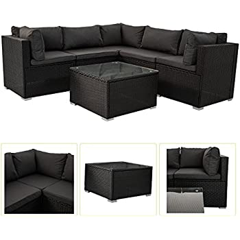 Amazon.de: Polyrattan Gartenmöbel Lounge Sitzgruppe Nassau mit ...