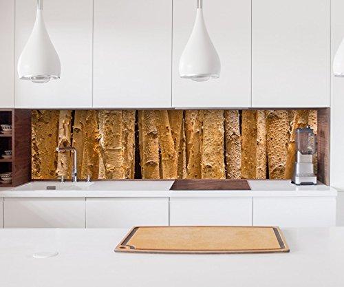Aufkleber Küchenrückwand Wald Hintergrund Birke Baum Bäume Holz Folie selbstklebend Dekofolie Fliesen Möbelfolie Spritzschutz 22A1177, Höhe x Länge:60cm x 200cm