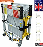 Euro Teletower Telescopic ladder scaffolding 3.2m - Built in Lockable wheels - Stabilizer - Height leveler - Platform with Trap door Worlds most compact scaffolding - Light & Portable