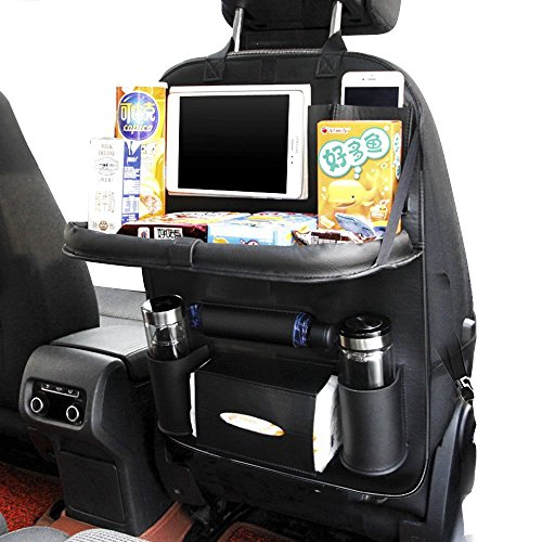 Rücksitzorganizer Kinder Rückenlehnenschutz Auto Rücksitztasche Rückenlehnentasche mit klappbarem Esstisch 7 Taschen Schwarz 1 Stück