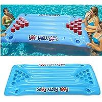 BaBaSM Praktisch Aufblasbares Pool-Bier-Tabellen-Schalen-Halter, PVC-aufblasbares Bier Pong-Ball-Tabellen-Wasser-sich hin- und herbewegendes Floss-Aufenthaltsraum-Pool-trinkendes Spiel 24 Schalen-Halt