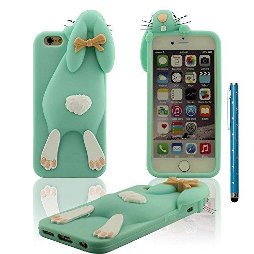 Apple iPhone 6S Plus / 6 Plus 5.5 Custodia Protettiva Cover + Penna stilografica Morbido Elastico Silicone Gel Tipo di animali Design ragazze Stile 3D Coniglietto Forma Vari colori - Stile Rosa Ciano