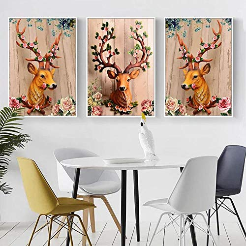 SSW0307 Nordic A4 Art Prints Deer Head Flowers Poster Hippie Wall Pict