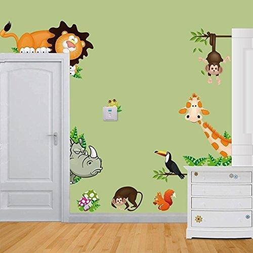 Jooks Tier Zoo Wandaufkleber Tier von Elefant Affe Löwe Krokodil zum Kinder Zimmer oder Kindergarten Dekoration