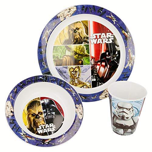 Set micro Kids 3 pièces assiette, bol et verre 260 ml. Star Wars Classic