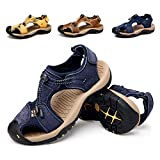 gracosy Men Leather Sandals Closed Toe Comfy Footwear Fashion Beach Summer Outdoor Shoes