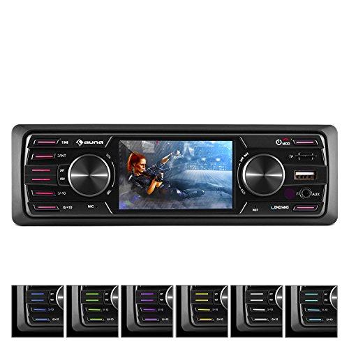 "Auna MD-350BT • Radio para coche • Hi-Fi Set • Sin cubierta • Bluetooth • USB 2.0 • SD MMC • Sintonizador FM AM • MP3 WMA• 4x45W Potencia máx. • Pantalla LCD 3"" • Aux • Mando a distancia • Negro"