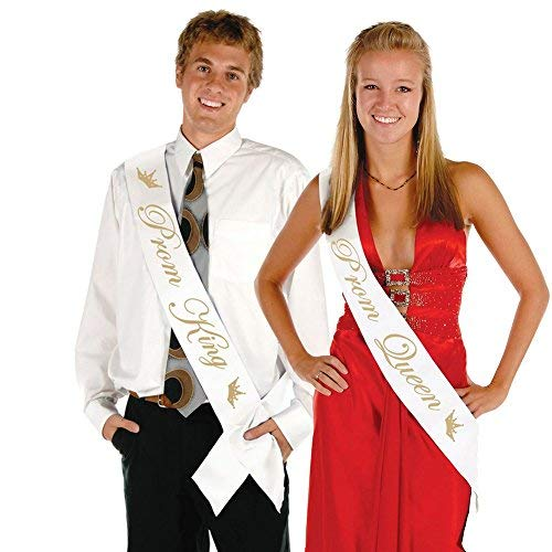 FCAROLYN Prom Queen & Prom King Satin Sash - School Prom Party