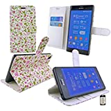 Emartbuy® Sony Xperia Z3 / Xperia Z3 Dual Desktop Ständer Wallet Case Hülle Tasche Floral Rosa / Grün mit KRotitkartenfächern