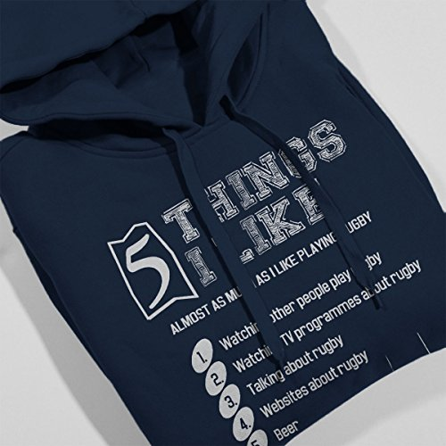 5 Things I Like Almost As Much As Playing Rugby Men's Hooded Sweatshirt Navy blue