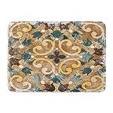 artyly Felpudo Antideslizante para Interiores y Exteriores, diseño geométrico, Color Azul, diseño Italiano, Estilo marroquí, Colorido, Abstracto, Duradero, 60 x 40 cm