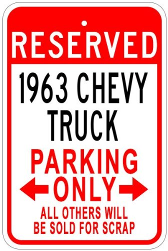 The Lizton Sign Shop 1963 63 Chevy Truck Aluminium Parken Schild, Aluminium, Weiß, 12 x 18 inches -