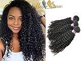 Moresoo Brazilian Real Hair Extension Kinky Curly Weave Hair Bundles 3 Bundles Lots Natural Human Hair Echthaar Extensions Zum EinnäHen Komplette Kopf Hair Mixed Length 22/24/26 Zoll