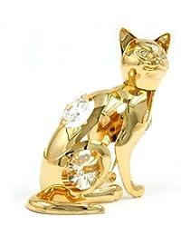Articles en cristal Décoration Figurines Chat or avec cristaux brillants 70 mm