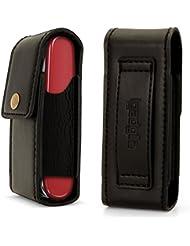 igadgitz Negro Funda de Cuero Genuino Carcasa Case Cover para Bolsillo Navajas Suiza (Compatible con Victorinox)